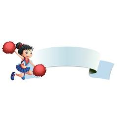 A cheerleader beside an empty space vector image