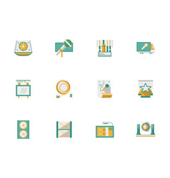 Stage performance flat color icons set vector