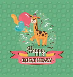 Vintage birthday greeting card with giraffe vector