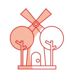 Farm windmill isolated icon vector