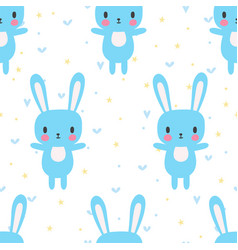 Cute seamless pattern with cartoon bunny funny vector