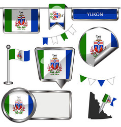 Glossy icons with flag of province yukon vector