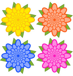 Set of yellow orange blue pink flowers on a vector
