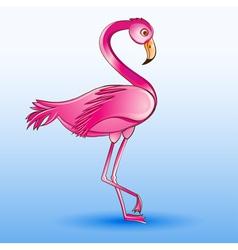 a pink flamingo standing on a blue vector image