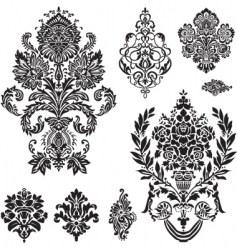 Vector damask ornament set vector
