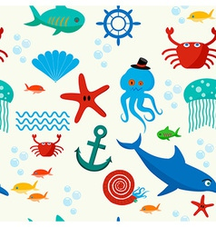 Underwater and sea animals seamless pattern vector