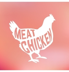 Meat chicken silhouette with text inside on blur vector