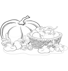 Vegetables still life outline vector
