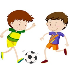 Two boy playing soccer vector