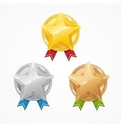 Medals with Stars Set vector image