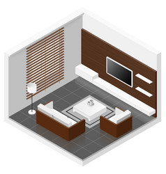 Living room isomertic detailed set vector