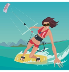 Girl is engaged in kitesurfing vector