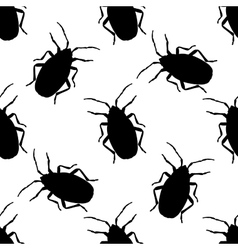 Seamless pattern with bug-soldier or firebug vector