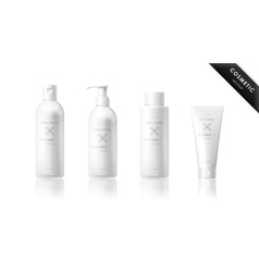 Realistic bottle set cosmetic brand template vector