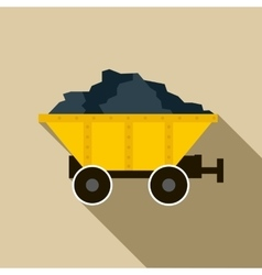 Coal trolley icon in flat style vector