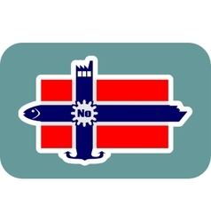 Norway national flag with icons vector