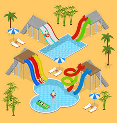 aqua park concept isometric view vector image vector image