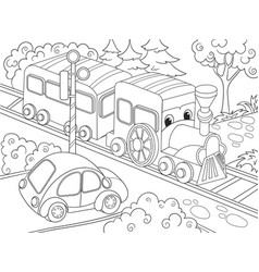 Cartoon train train and car coloring book for vector