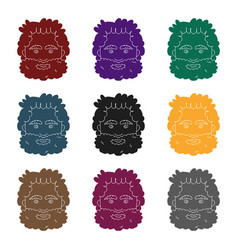 Caveman face icon in black style isolated on white vector