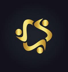 Circle diversity gold logo vector