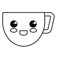 Coffee cup kawai character vector