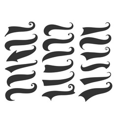 Curly swish tails for retro banners vector