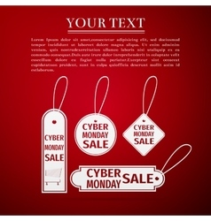 Cyber monday sale tag flat icon on red background vector
