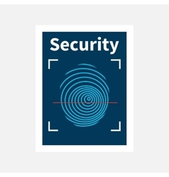 Fingerprint sign icon with red laser vector image