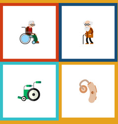 Flat icon disabled set of audiology wheelchair vector