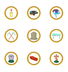 Funeral ceremony icon set cartoon style vector