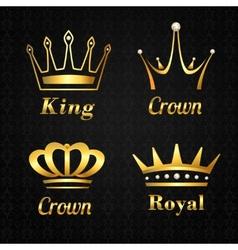 Golden crown labels set vector image vector image