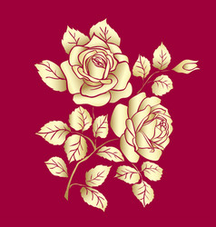 Golden rose sketch vector