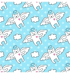 hand drawn cats angels vector image vector image