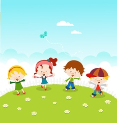 Kids celebrating spring vector
