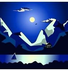 Landscape of the sea at night idyllic vector