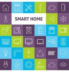 Line art smart home icons set vector