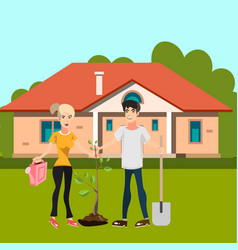 Man and girl plant tree in courtyard vector