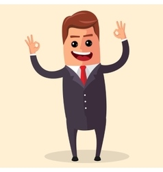 manager character happy and with open arms vector image vector image