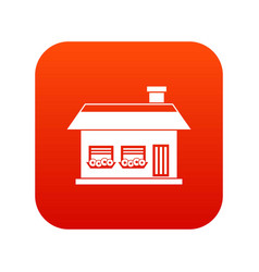 one storey house with two windows icon digital red vector image