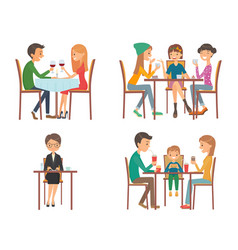 people in restaurant vector image
