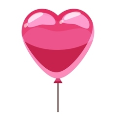 Pink heart balloon icon isometric 3d style vector