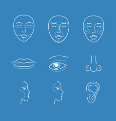 Plastic surgery face icons thin line set vector