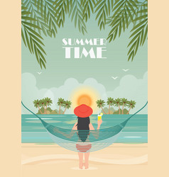 pretty woman relax on the beach cradle vector image vector image
