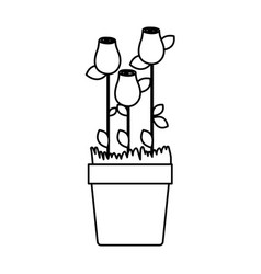 Silhouette rosebuds planted with leaves in vector