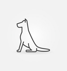 sitting dog line icon vector image vector image