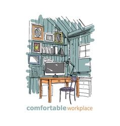 Sketch interior comfortable workplace vector image vector image