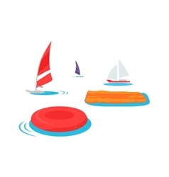 Summer Swimming Accessories Flat Design vector image