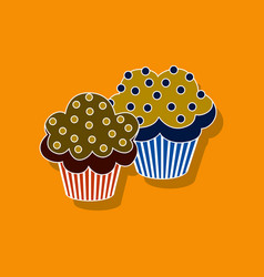 sweet dessert in paper sticker cupcakes vector image vector image