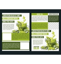 Two flyer green tea vector image