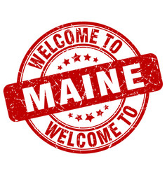 Welcome to maine red round vintage stamp vector